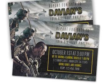 Call of Duty Birthday Invitations & Blank Digital Thank You Card to match