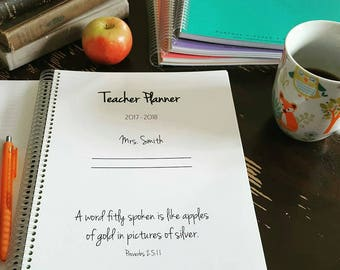 HOMESCHOOL PLANNER 2017-2018 Teacher Student Planner, custom, field trips, reading logs, monthly calendar, lesson plans, spiral bound