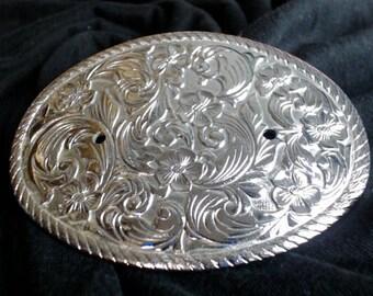 Belt Buckle Base: Floral DIY Belt Buckle Supply Silver