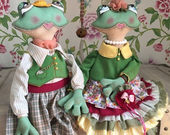 Spring frogs 100% handmade exclusively dressed dolls - symbol of well-being, wealth, eroticism