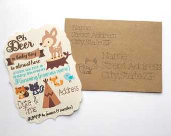 Woodland Baby Shower Invitations - 10 count - Little Critters - Boy Baby Shower - Outdoors - Tribal - 5x7