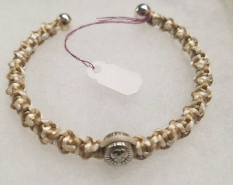 Macrame over Silver Plated I know Bangle with Lion