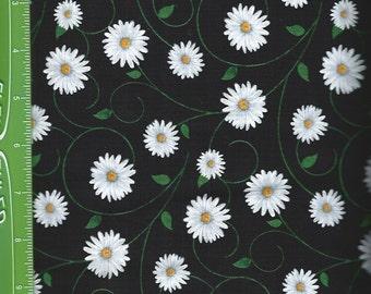 Daisy on black/goes with daisy border print,love,laugh,Timeless Treasures