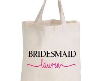 personalised Bridal Party Calico Tote/Gift Bags