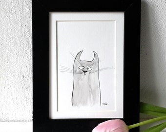 watercolor cat, cat art, handpainted original, illustration, art postcard, aquarelle cat, cat lover, nursery decor, wall decor, kitty cat