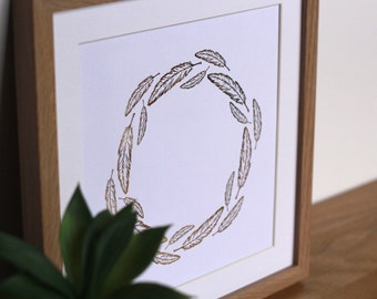 Feather wreath print - gold foil UNFRAMED