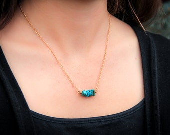 Boho Turquoise and Gold Beaded Necklace