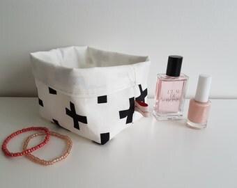 Cross Collection, fabric storage basket, storage bin, box bin bucket