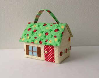 Ladybug Roof Fabric Dollhouse Purse/Carry Along Dollhouse/Travel Dollhouse/Portable Dollhouse