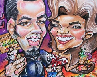 Shipping Full Theme Couple Caricatures