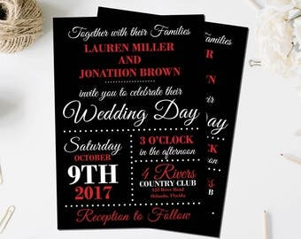 Red and Black Wedding Invites | Formal Wedding Invitations | Elegant Wedding Invitations | Broadway Inspired Invitation | Timeless Event