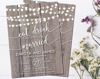 Rustic Couples Shower Invitation | String Lights | Eat, Drink and Soon to be Married | Barn Wedding | Rustic Bridal Shower | Country Wedding