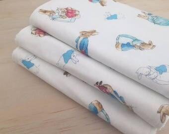SALE! Baby burp cloths, set of 3, 'Peter Rabbit' print, baby shower, baby gift