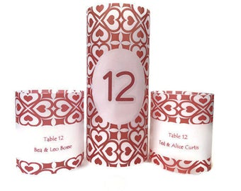 Table numbers,  Luminaries , Wedding table centerpiece, wedding candle, wedding luminary, wedding name card, wedding place card