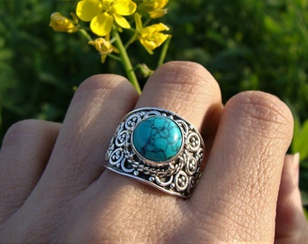 Turquoise Ring, 925 Sterling Silver Ring, Turquoise Jewelry, Blue Stone Ring, Blue Turquoise Ring, Boho Ring, Gypsy Ring, Bohemian Ring
