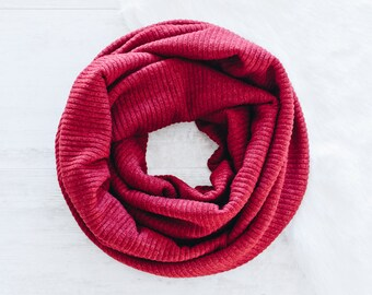Dark Red Infinity Scarf / Womens Scarves / Dark Red Scarf / Jersey Knit Scarf / Cowl Scarf / Gift for Her / Fashion Accessories