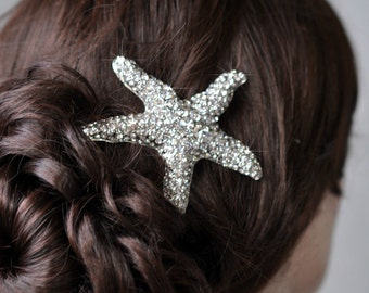 Handmade Large Crystal Rhinestone Starfish Hair Clip, Bridal, Beach or Destination Wedding (Sparkle-2340)