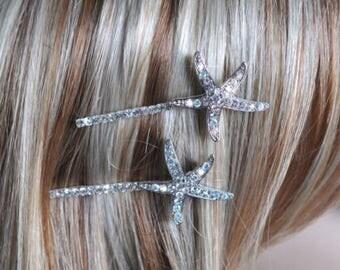 Set of 2 Pretty Handmade Starfish Bobby Hairpins, Destination or Beach Wedding (Sparkle-1771)