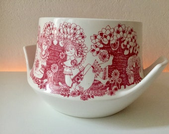 SOLD Arden Norway bowl * girl & trees * nordic design * mid century * Norway porcelain tureen Nordic design