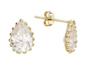 14k Solid Yellow Gold Stud Earrings 7608 Charming Water Drop Cubic Design Lovely