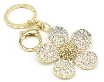 Crystal Flower Keyholder Pure Handmade Key Chain Handbag Accessory For Women