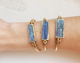 Blue kyanite cuff | Gemstone Bangle | Arm cuff jewelry | Stone gold | Boho Bohemian Gypsy | adjustable | Brass Bangle cuff