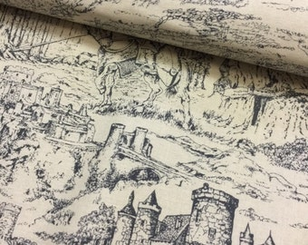 Knights Fabric Game of Thrones Inspired Camelot Fabric Grey on Cream Through the Ages - CT118457 100 Percent Cotton Yardage