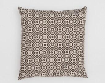 Karo Handscreen Printed Cushion Cover - Chocolate Brown  50x50cm