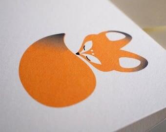 Napping Fox Greeting Card, Blank Card, Greeting Cards Handmade, Cute Cards, Hand made greeting cards.