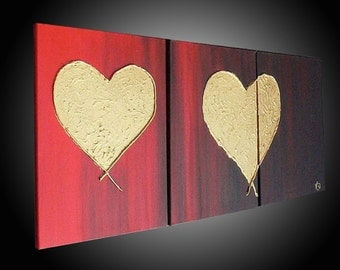 """ORIGINAL TEXTURED PAINTING abstract  48""""  hearts, gold, red ,black, canvas, art deco"""