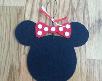Ornament ,Minnie Mouse, Handmade, Gift Idea, Decoration, Gift Tag, Hanging Ornament, Child's Ornament, Teacher Gift, Felt Ornament