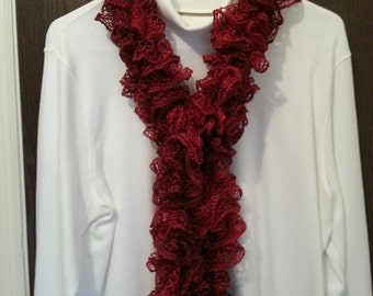 Ladies Scarf, Sashay Scarf, Handmade, Hand Knitted, Fashion, Ruffle Yarn, Wrap Scarf, Accessories, Football Scarf, Gift, Rubies Scarf