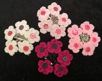 Crochet Flower Button Hair Clips