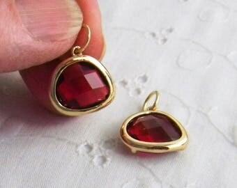 Fuschia Pendant, Siam Crystal Drop, Pink faceted pendant, faceted charm, interchangeable pendant