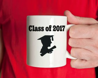 Class of 2017, Graduation Mug, Male Silhouette, Guys Mug, College, High School, Gift, custom gift, personalized graduation gift
