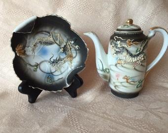 Vintage Dragon Teapot, Dragon Dish, 1950s Made in Japan Moriage Dragonware