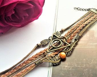 Leather Bracelet  Owl Wings / Feather. Model: 0004