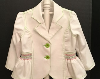 Stretch Denim Jacket with Lime, Red and Blue Smocking Sizes 2-4-6
