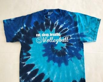 Tie Dye Eat.Sleep.Breathe. Volleyball Tee