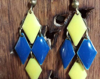 Earrings yellow and blue Mint