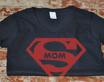 V-neck Supermom Shirt Funny Gift Idea Mothers Superhero Parody Mother's Day