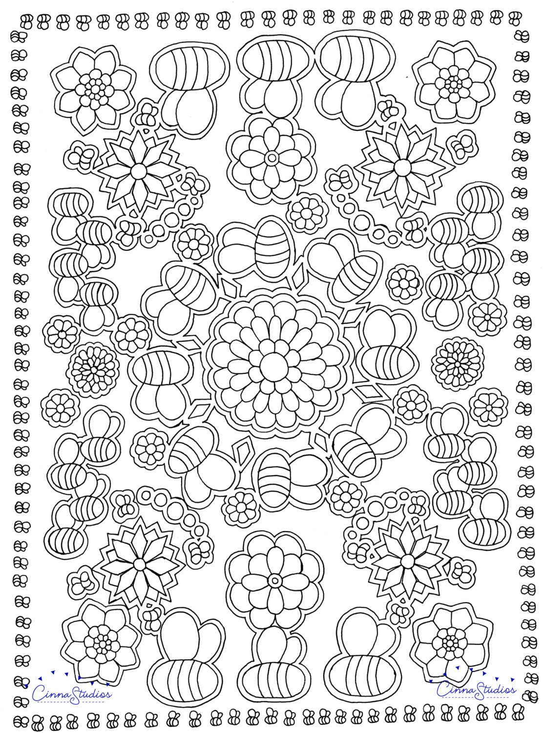 coloring page download relaxing art bees u0026 nature