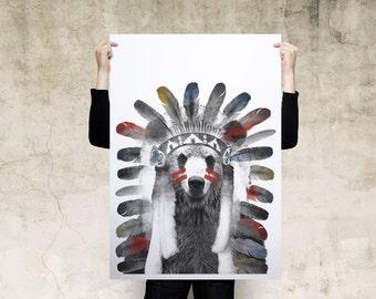 Bear American Native Headdress Art Print Poster