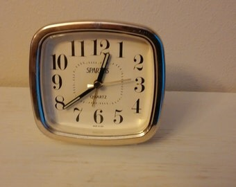 Vintage Alarm Clock, Vintage Spartus Quartz Alarm Clock, Made in U.S.A., Vintage Decor