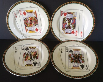 """Vintage """"Casino"""" Snack Plates by American Atelier, Set 4"""
