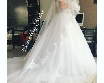 Wide sloping straps wedding dress Princess wedding dress lace wedding dress straps