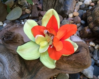 Lime green and orange double orchid tropical silk flower hair clip