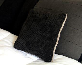 Fluffy Soft Pillow #3 Black/Beige