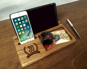 30th Birthday for Him, Anniversary Gifts for Men Wood, Personalized Engraved, Docking Station, iPhone iPad Tablet Wood Stand, Gift for Dad