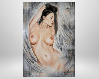 Angels, women nude, original oil painting, erotic, romantic, original, paintings, on order, fantasy